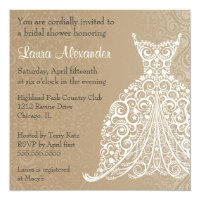 Wedding dress invitations announcements zazzle wedding dress bridal shower invitation filmwisefo Image collections
