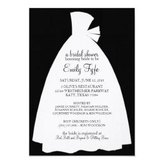"Wedding Dress Bridal Shower Invitation {Ebony} 5"" X 7"" Invitation Card"