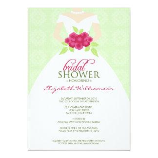 Wedding Dress Bridal Shower Invitation (mint)