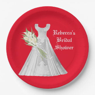 Wedding Dress Bridal Shower paper plate