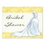 "Wedding Dress Bridal Shower - Yellow 4.25"" X 5.5"" Invitation Card"