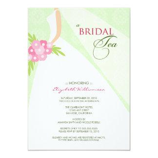 Wedding Dress Bridal Tea Invitation (green)