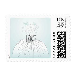 Wedding Dress Butterflies Postage