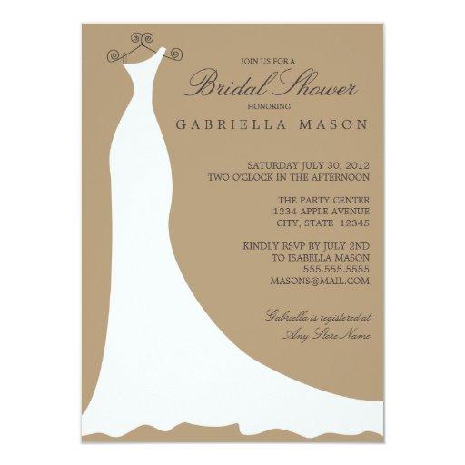 Wedding Dress | Camel 4.5x6.25 Paper Invitation Card