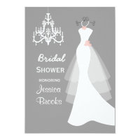 Wedding dress Chandelier  Bridal shower Invitation