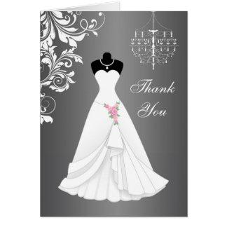 Wedding dress, chandelier on black gray Thank You Card