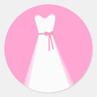 Wedding dress classic round sticker