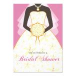 "Wedding Dress Custom Bridal Shower Invites Pink 5"" X 7"" Invitation Card"