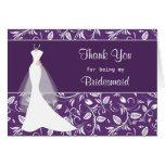 Wedding dress, damask on purple Thank you Card