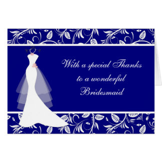 Wedding dress, damask on royal blue Thank you Card