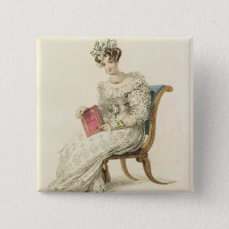 Wedding dress, fashion plate from Ackermann's Repo Pinback Button