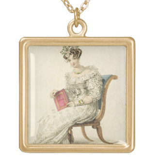 Wedding dress, fashion plate from Ackermann's Repo Square Pendant Necklace