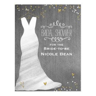 Wedding Dress Modern Glam & Heart Confetti Bridal Postcard