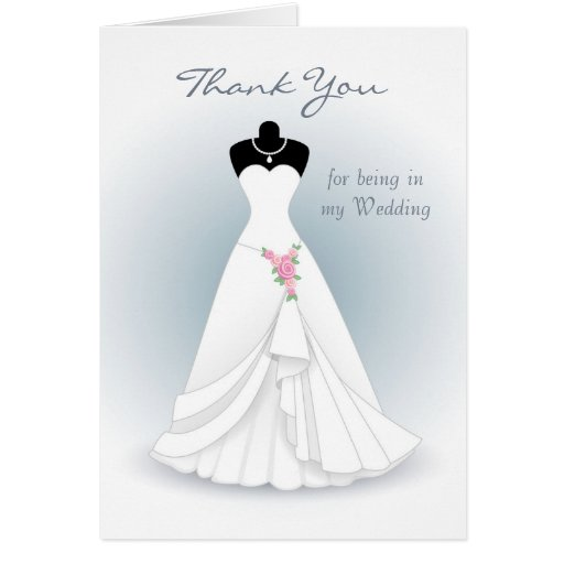 Wedding Dress With Note : Wedding dress on blue gray thank you stationery note card zazzle