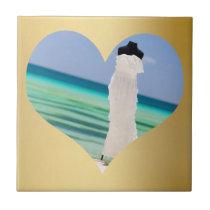 Wedding Dress On The Beach Heart Ceramic Tile SM