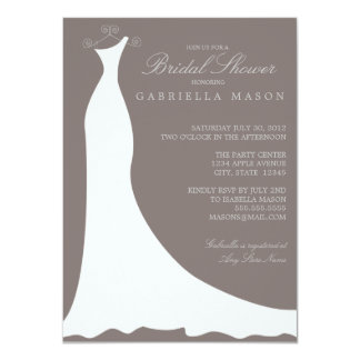 Wedding Dress | Pewter 4.5x6.25 Paper Invitation Card