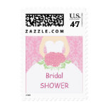 Wedding dress, pink damask Bridal Shower Postage