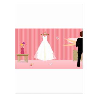 wedding dress pink stripe postcard