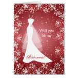 Wedding dress, snowflakes on red Bridesmaid Cards