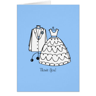Wedding Dress & Tux Custom Thank You Notes Stationery Note Card