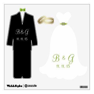 WEDDING DRESS TUXEDO WEDDING RINGS WALL DECALS
