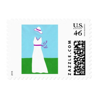 Wedding Dress white with purple ribbon postage by Cherylsart