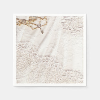 Wedding Dress With Gold And Silver Stitching Paper Napkin