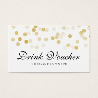 Wedding Drink Voucher Faux Gold Foil Glitter Light Business Card