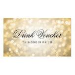 Wedding Drink Voucher Gold Glitter Lights Business Card