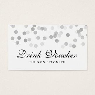 Wedding Drink Voucher Silver Foil Glitter Light Business Card