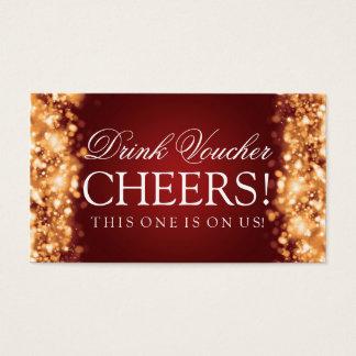 Wedding Drink Voucher Sparkling Lights Gold Business Card
