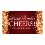 Wedding Drink Voucher Sparkling Lights Gold Double-Sided Standard Business Cards (Pack Of 100)