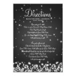 Wedding Driving Directions Winter Sparkle Black Custom Invitations