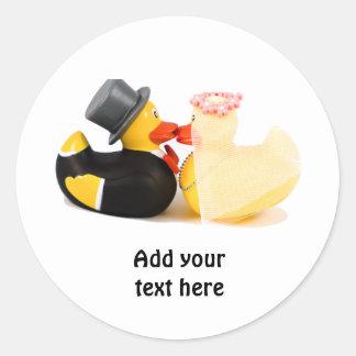 Wedding ducks 1 classic round sticker