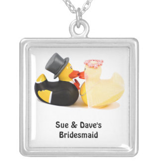Wedding ducks 1 silver plated necklace