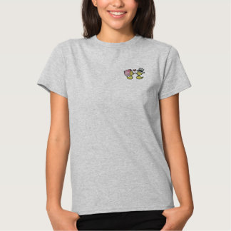 Wedding ducks (black outline) embroidered shirt