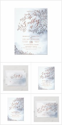 WEDDING | Dusty blue calligraphy rustic floral