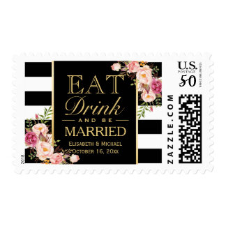 Wedding EAT Drink and Be Married with Floral Deco Postage