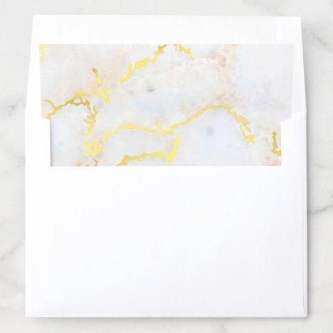 Wedding Elegant Gold Marble Modern Glamour Golden Envelope Liner