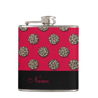 Wedding elegant leopard print dots personalized hip flask