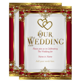 Wedding Elegant Red Gold White Golden Card