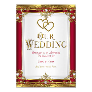 Superior Wedding Elegant Red Gold White Golden Card
