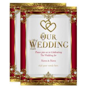 Red And White Wedding Invitations | Zazzle