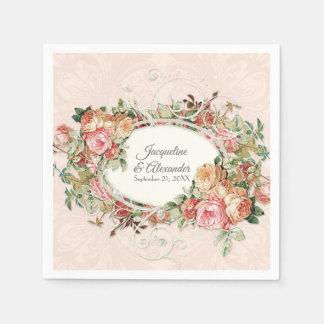 Wedding Elegant Vintage Blush Rose Floral Bouquet Napkin