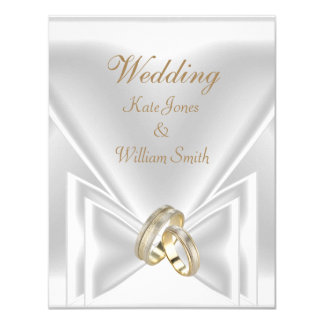 Wedding Elegant White Gold Rings Card