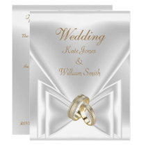Wedding Elegant White Gold Rings Invitation