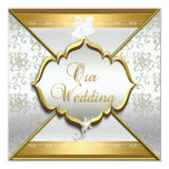 Wedding Elegant White Silver Gold Personalized Announcement