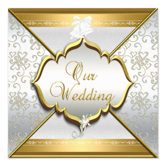 Wedding Elegant White Silver Gold 5.25x5.25 Square Paper Invitation Card