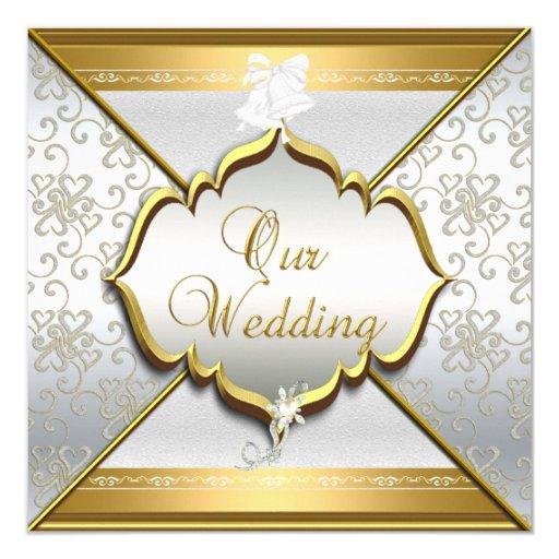 Silver Wedding Gift Experiences : Wedding Elegant White Silver Gold Invitation Zazzle