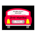 Wedding Elopement Announcement Postcard - Red Car